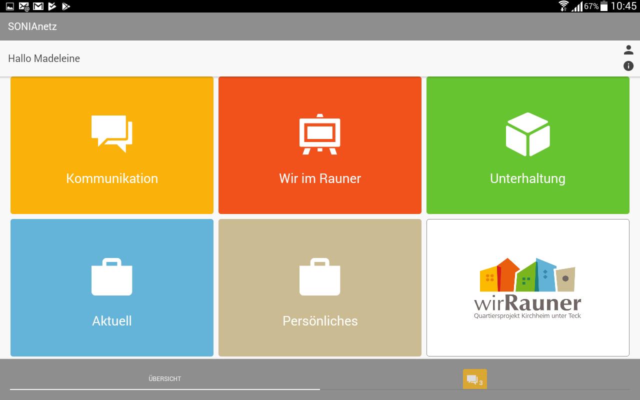 Startseite der im Quartier Rauner eingesetzten App