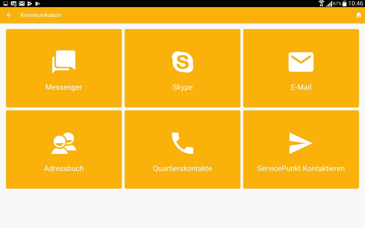 Screenshot der Kategorie Kommunikation